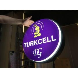 Turkcell- Yandan Ayaklı Daire Tabela-62 cm